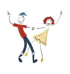 Doodle stickman concept dancing vector