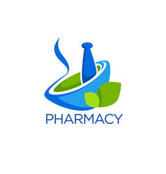 Eco pharmacy glossy shine logo template with vector