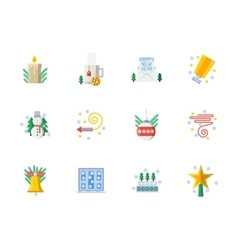 Flat color Christmas icons set vector image