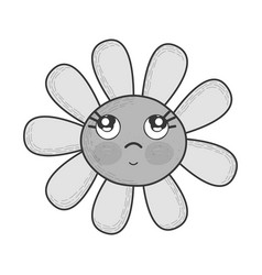 Grayscale kawaii flower thinking with cheeks and vector