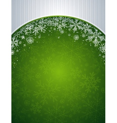 green christmas background with snowflakes vector image