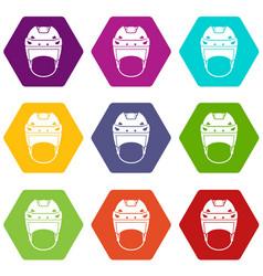 Hockey helmet icon set color hexahedron vector