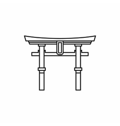 Japan gate Torii icon outline style vector image