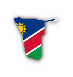 Map and flag of namibia vector