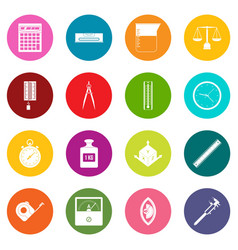 Measure precision icons many colors set vector