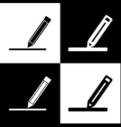 Pencil sign black and white vector