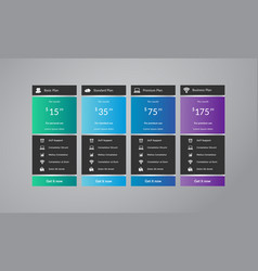 Pricing tables web template design vector