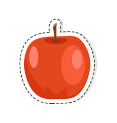 Red apple flat isolated sticker or icon vector