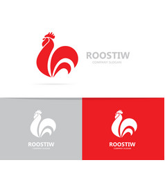 red fire rooster and cock logo vector image vector image