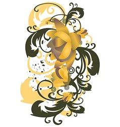 roses leaves vertical Stylized flowers branches vector image