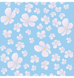 seamless background with flying pink flowers and b vector image vector image