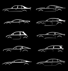 Set of concept car silhouette vector