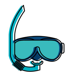 Snorkel and googles isolated icon vector