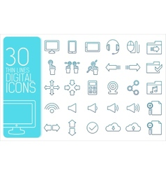 thin line social set icons concept design vector image