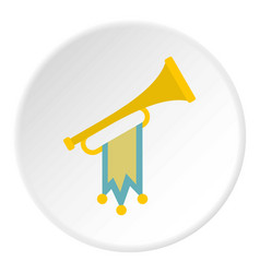 Trumpet with flag icon circle vector