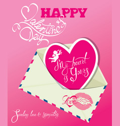 Vintage card with envelope and pink paper heart vector