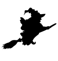Halloween witch silhouette vector