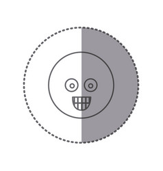 sticker silhouette emoticon face surprised vector image