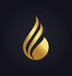 water drop abstract gold logo vector image