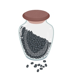 A lot of black beans in glass bottle vector