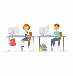 computer studies - junior school children at the vector image