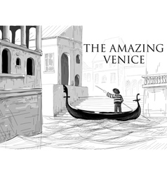 Venice canals gondola sketch vector