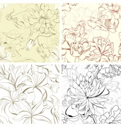 Set seamless floral wallpaper vector