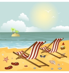 Two chaise longue on the beach vector