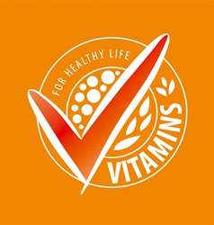 Logo vitamins on orange background vector