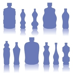 Set of blue bottles silhouettes vector