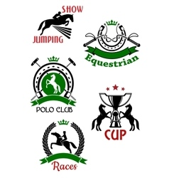 Equestrian sport symbols for competitions design vector