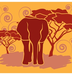 Elephant in african savanna vector