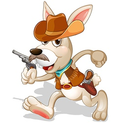 A rabbit running with a gun vector