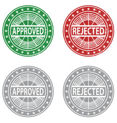Approved rejected rubber stamp vector