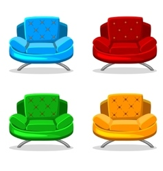 Armchair soft colorful homemade set 6 vector