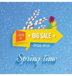 Big sale banner on a spring background vector