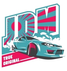 Burnout car Japanese drift sport JDM vector image