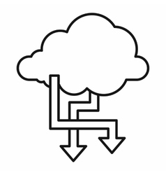 Cloud and arrows icon outline style vector image