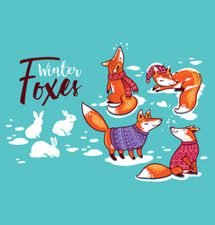 collection of cartoon foxes in cozy sweaters vector image