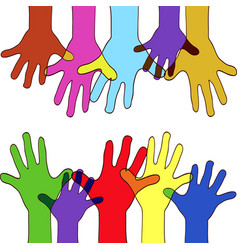 Colorfull up hands vector
