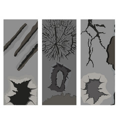 Crackle brochure with many cracks scratches vector