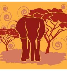 Elephant in african savanna vector
