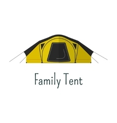 Family tent flat icon camping tent color vector