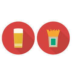 Flat glass of beer and french fries vector