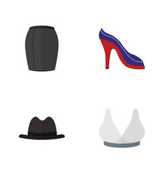 Flat icon clothes set of panama brasserie heeled vector