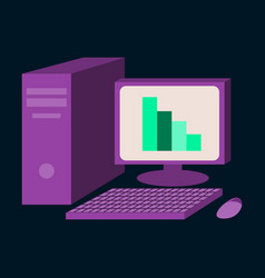 flat icon on stylish background office computer vector image