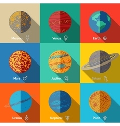 Flat icons set planets with names and vector