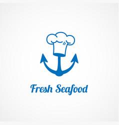 fresh seafood logo vector image vector image