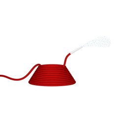 Garden hose in red design squirts water vector