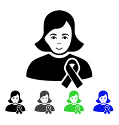 girl with sympathy ribbon flat icon vector image vector image